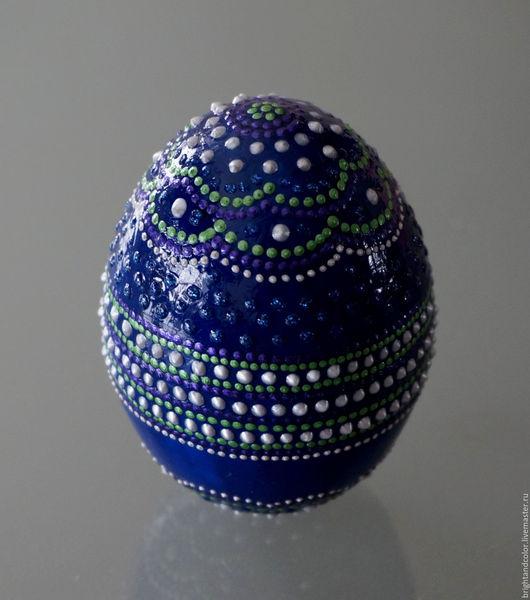 """Яйца ручной работы. Ярмарка Мастеров - ручная работа. Купить Декоративное яйцо """"Синий цветок"""". Handmade. Тёмно-синий"""