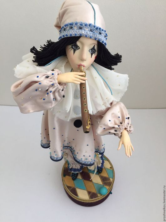 Коллекционные куклы ручной работы. Ярмарка Мастеров - ручная работа. Купить Пьеро. Handmade. Бирюзовый, грусть, балаганчик, бисер