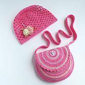 """Работы для детей, ручной работы. Ярмарка Мастеров - ручная работа Шапочка и сумочка """"Розовый пломбир"""" шапочка для девочки, сумочка. Handmade."""