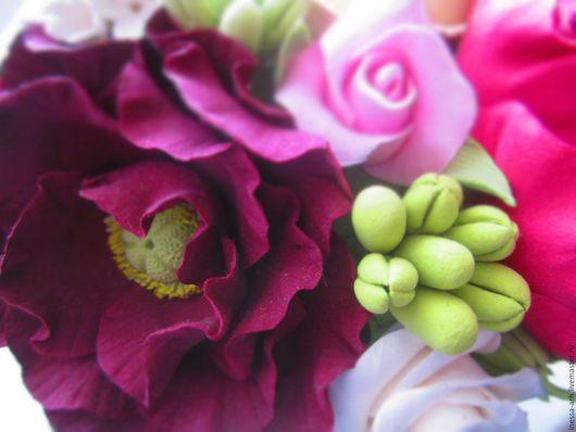 Интерьерные композиции ручной работы. Ярмарка Мастеров - ручная работа. Купить Цветы из полимерной глины в вазе. Handmade. Цветы, розовый