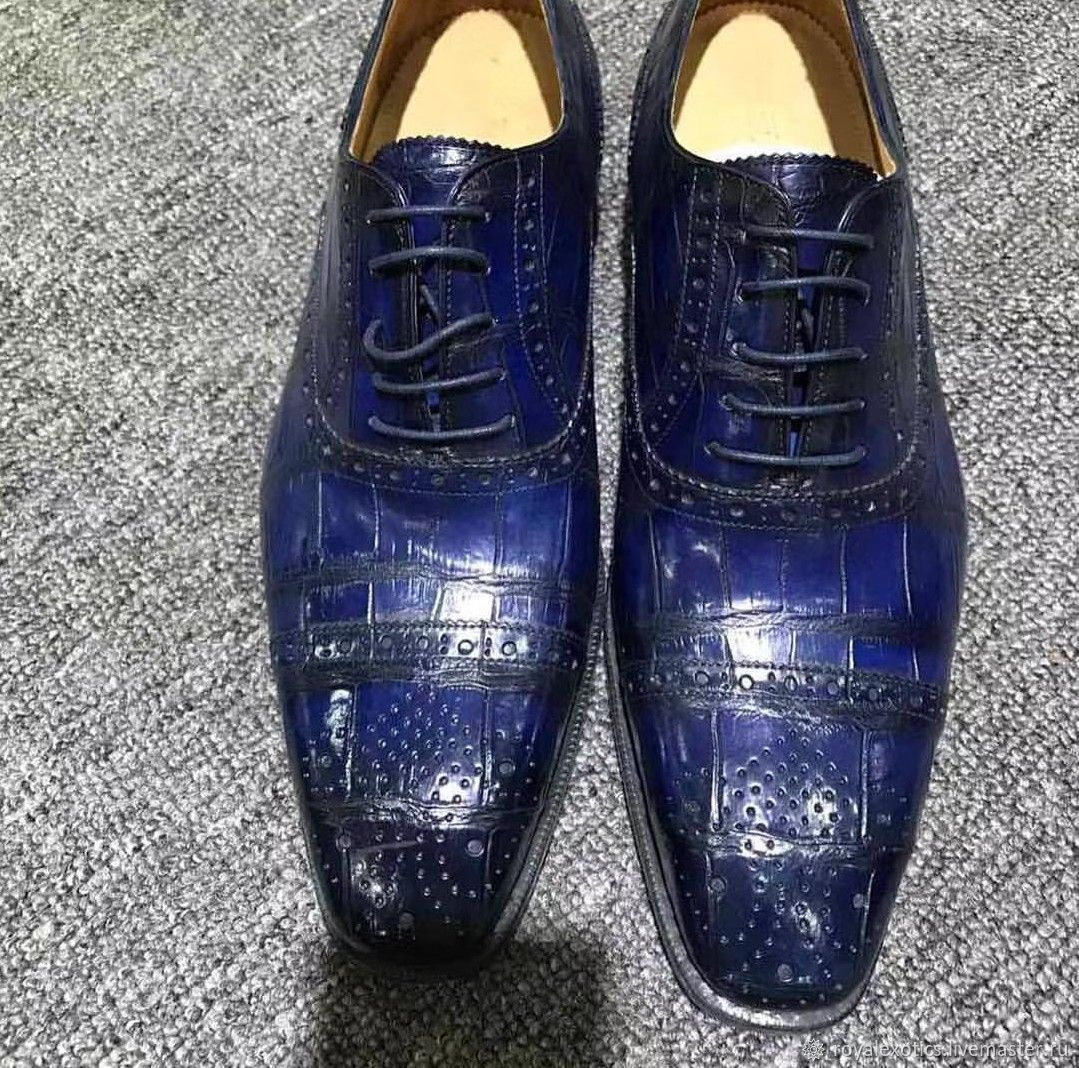 Men's shoes made of crocodile leather, with perforation, Shoes, Tosno,  Фото №1