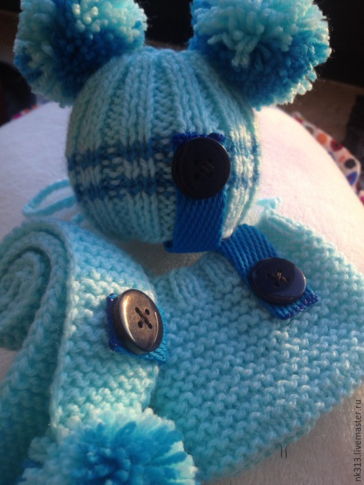 """Одежда для кукол ручной работы. Ярмарка Мастеров - ручная работа. Купить Одежда для кукол. Комплект шапочка, шарф и сумочка """"Голубое небо"""". Handmade."""