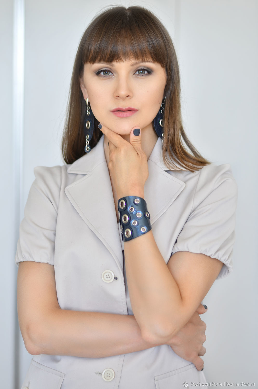 Jewelry sets: Leather bracelet and leather earrings Graphite, Jewelry Sets, Nizhnij Tagil,  Фото №1