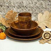 Посуда handmade. Livemaster - original item Set of Wooden Plates Glass made of Siberian Fir (4#33. Handmade.