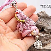 Украшения handmade. Livemaster - original item Delicate petal - bell pendant - pink lily flower lampwork. Handmade.