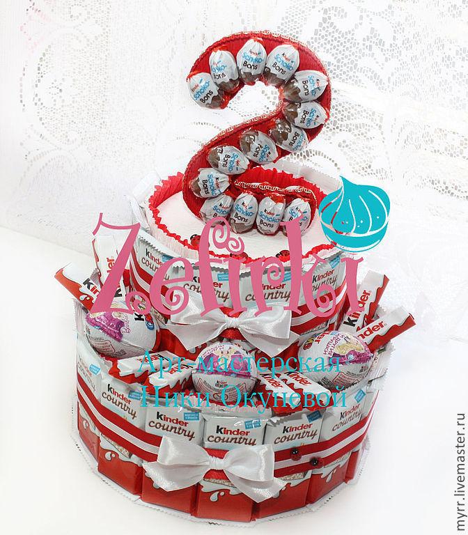 Подарок из конфет и киндеров