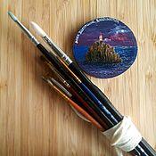 Магниты ручной работы. Ярмарка Мастеров - ручная работа Магнит Владивосток ручной работы на срезе дерева. Handmade.