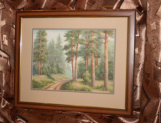 """Пейзаж ручной работы. Ярмарка Мастеров - ручная работа. Купить Вышитая картина""""Сосновый бор"""". Handmade. Комбинированный, картина в подарок"""