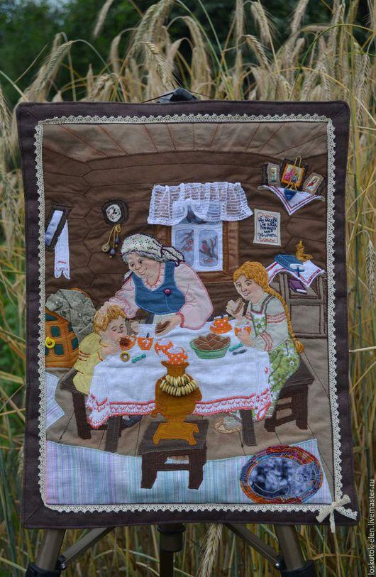 """Люди, ручной работы. Ярмарка Мастеров - ручная работа. Купить панно """"В гостях у бабушки"""". Handmade. Комбинированный, картина"""