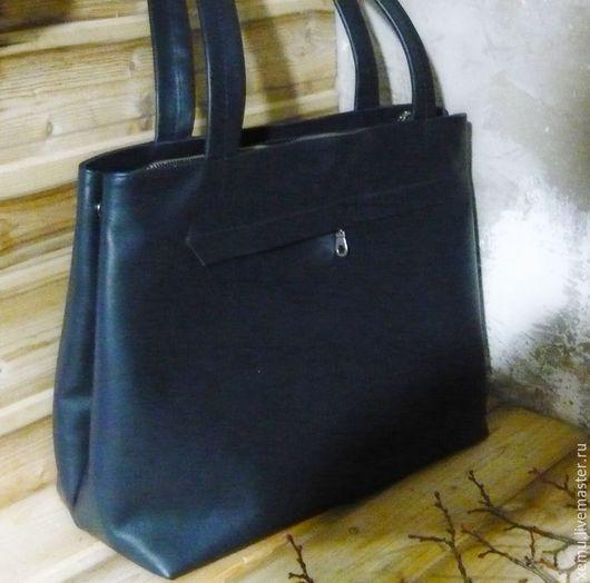 Женские сумки ручной работы. Ярмарка Мастеров - ручная работа. Купить Сумка кожаная повседневная, темно-синяя. Handmade.