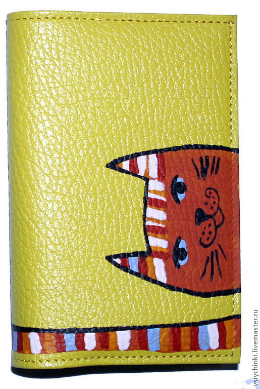 Обложки ручной работы. Ярмарка Мастеров - ручная работа. Купить Обложка Рыжий кот. Handmade. Желтый, натуральная кожа