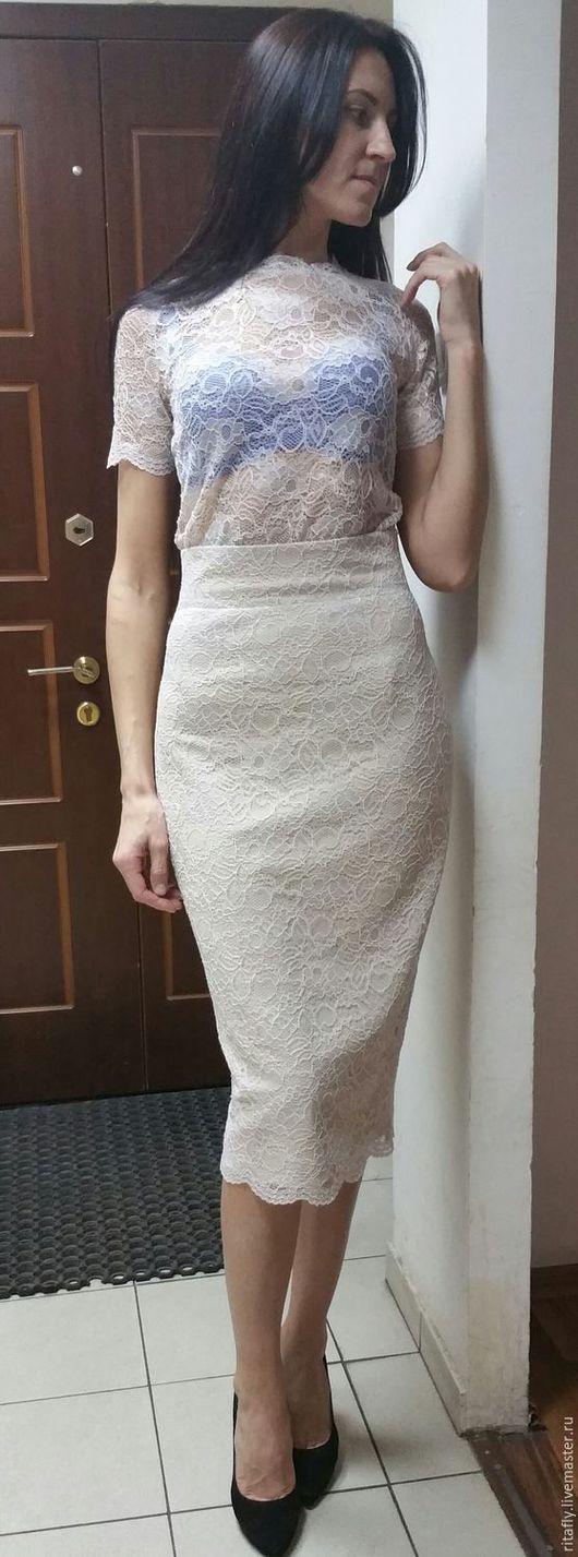 кружевная юбка карандаш юбка до колен юбка вечерняя из кружева юбка зауженная с завышенной талией кружевная нарядная