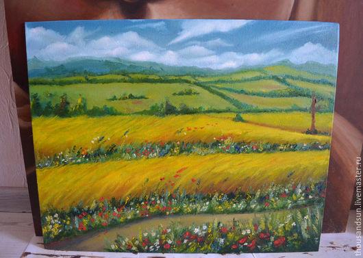 Пейзаж ручной работы. Ярмарка Мастеров - ручная работа. Купить Желтое поле, ХолстМасло, 40х50. Handmade. Желтый, облака, Живопись