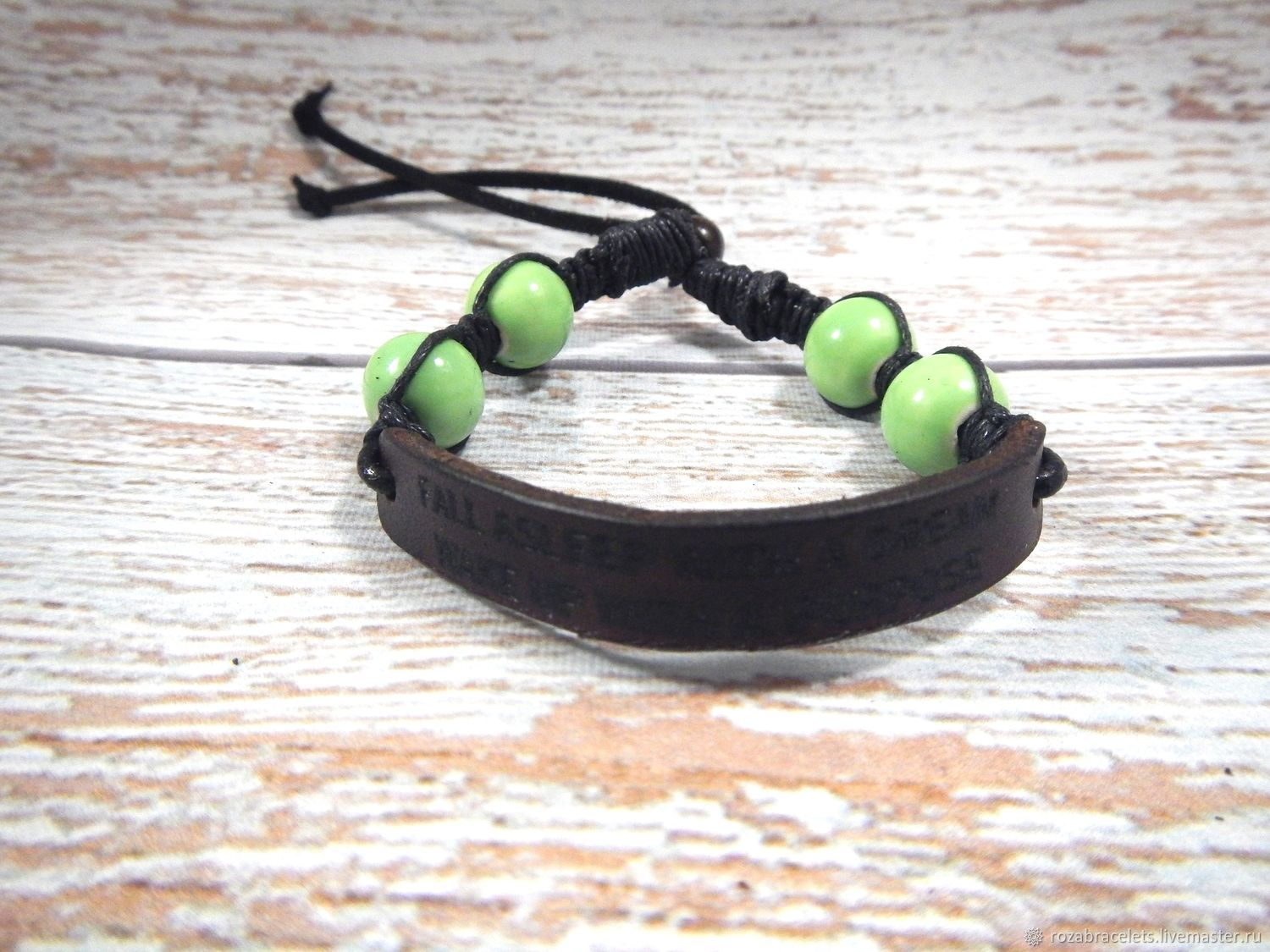 Leather bracelet with engraving Fall asleep with a dream, Cuff bracelet, Ulyanovsk,  Фото №1