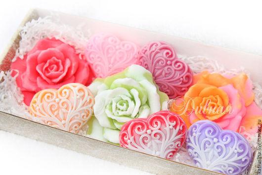 """Мыло ручной работы. Ярмарка Мастеров - ручная работа. Купить Набор мыла """"Розы и сердца"""". Handmade. Розовый, мыло розы"""