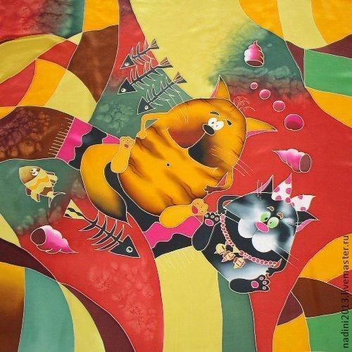 Шёлковый платочек `Парочка` выполнен в технике холодный батик.. По желанию покупателя можно поменять колорит.  Прекрасный подарок на любой праздник.