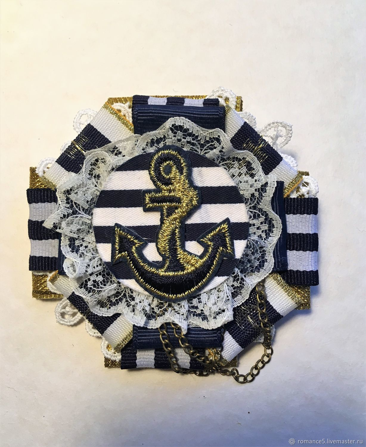 Marine brooch from reps tapes 'Miami beach', Brooches, Moscow,  Фото №1