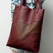 Сумки и аксессуары handmade. Livemaster - original item Shopping bag patchwork bag, genuine leather.. Handmade.