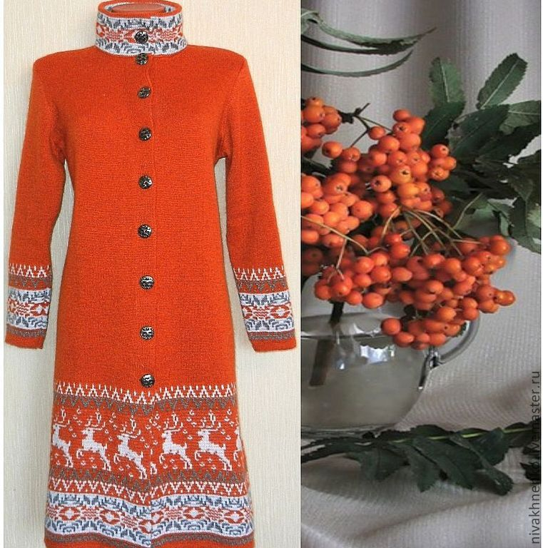 Outer Clothing handmade. Livemaster - handmade. Buy Coat knit with a Norwegian ornament Terracotta.Coat, coat jacket