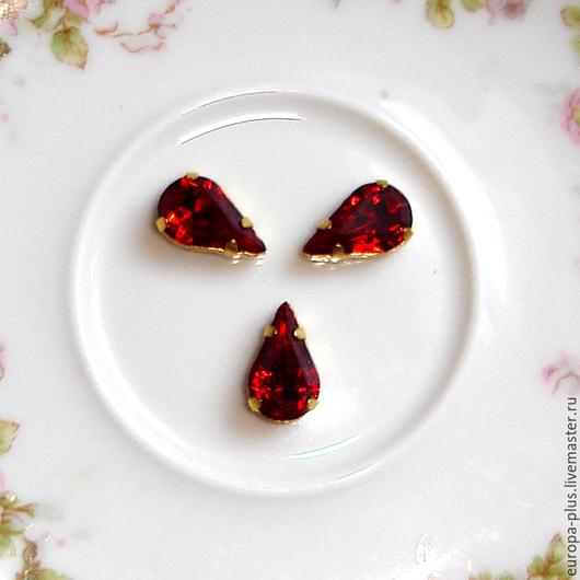 Для украшений ручной работы. Ярмарка Мастеров - ручная работа. Купить Винтажные кристаллы 13х7,8 мм - Siam. Handmade.