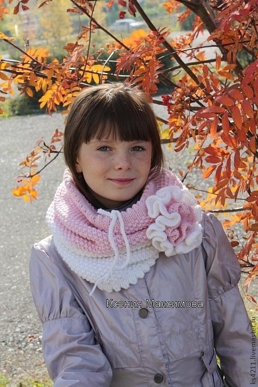 """Шали, палантины ручной работы. Ярмарка Мастеров - ручная работа. Купить снуд, шарф, хомут """"Зефирка"""". Handmade. Шарф, розовый"""