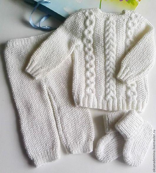 Одежда унисекс ручной работы. Ярмарка Мастеров - ручная работа. Купить Вязаный костюм. Handmade. Комбинированный, шапка вязаная