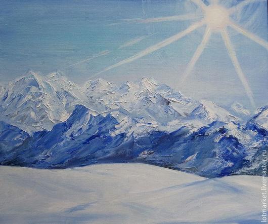 Пейзаж ручной работы. Ярмарка Мастеров - ручная работа. Купить Картина Снежные вершины. Handmade. Картина в подарок, голубой