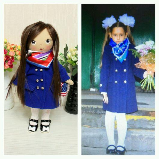 Куклы тыквоголовки ручной работы. Ярмарка Мастеров - ручная работа. Купить Портретная куколка. Handmade. Синий, кукла в подарок, шерсть