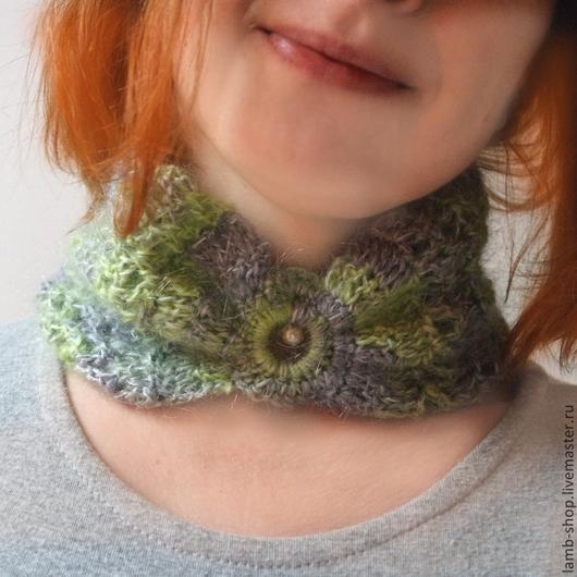 Шарфы и шарфики ручной работы. Ярмарка Мастеров - ручная работа. Купить Ажурный шарф-воротничок. Handmade. Голубой, модный шарф