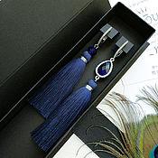 Украшения handmade. Livemaster - original item Asymmetrical blue earrings brush. Blue earrings. Handmade.