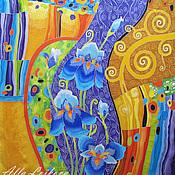 """Аксессуары ручной работы. Ярмарка Мастеров - ручная работа Шелковый авторский  платок """"Волшебный сад"""". Handmade."""