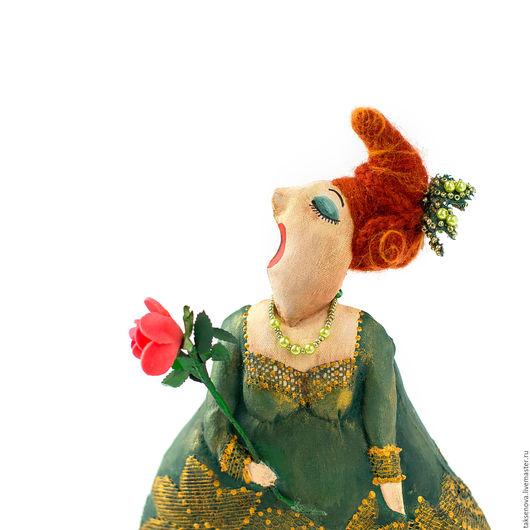 Коллекционные куклы ручной работы. Ярмарка Мастеров - ручная работа. Купить Текстильная грунтованная кукла Примадонна. Handmade. Тёмно-зелёный