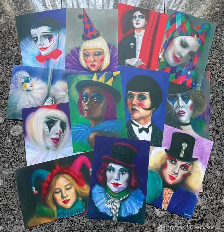 Потрясающие портреты COMMEDIA DELL'ARTE, Открытки, Москва,  Фото №1
