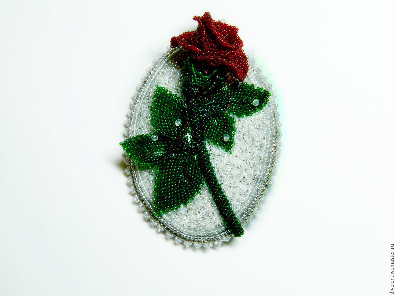 WINTER ROSE. a beaded brooch, Brooches, Divnogorsk,  Фото №1