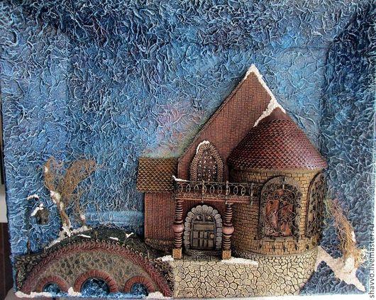 Город ручной работы. Ярмарка Мастеров - ручная работа. Купить Зимняя сказка. Handmade. Синий, объемная картина, мостик, бумага