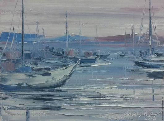 Пейзаж ручной работы. Ярмарка Мастеров - ручная работа. Купить Яхты. Handmade. Бледно-сиреневый, яхты, яхта, море