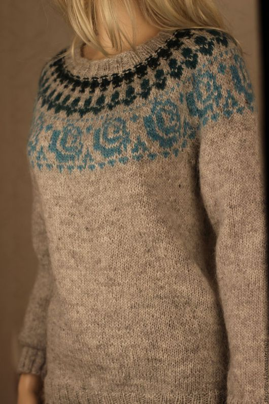 """Кофты и свитера ручной работы. Ярмарка Мастеров - ручная работа. Купить Скандинавский свитер """"Голубая роза"""". Handmade. Серый"""