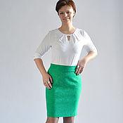 Одежда manualidades. Livemaster - hecho a mano Falda lápiz verde con la altura de la cintura de algodón jacquard. Handmade.