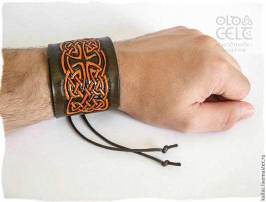 Браслеты ручной работы. Ярмарка Мастеров - ручная работа. Купить Кельтский браслет из кожи Лабиринт. Handmade. Коричневый, кельтский, лабиринт