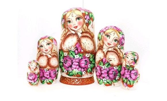 Матрёшка пионы 5м 17см, Народная кукла, Шатура,  Фото №1