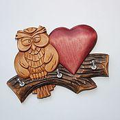 """Для дома и интерьера ручной работы. Ярмарка Мастеров - ручная работа Ключница """"Совенок с сердечком"""" для трех комплектов ключей.. Handmade."""