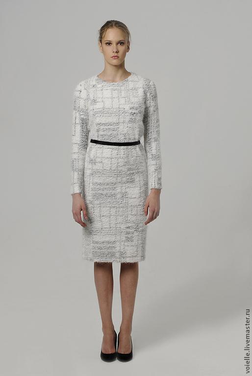 0dad2cd275d Платье деловое Рафаэлло тёплое белое трикотажное пушистое меховое ...