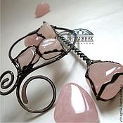 """Украшения ручной работы. Ярмарка Мастеров - ручная работа Заколка """"Гармония - 4"""" (розовый кварц). Handmade."""