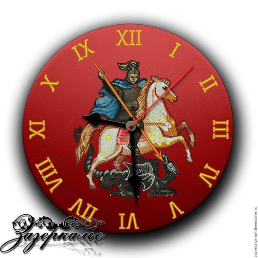"""Часы для дома ручной работы. Ярмарка Мастеров - ручная работа. Купить Кожаные часы с вышивкой """"Герб Москвы"""". Handmade."""