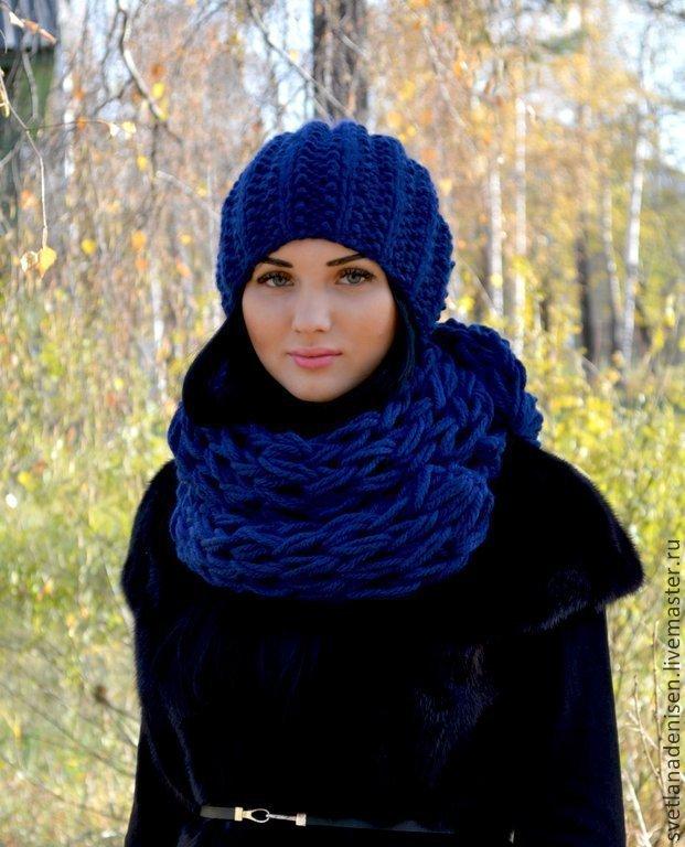 Вязаные шапочки и шарфы своими руками 81