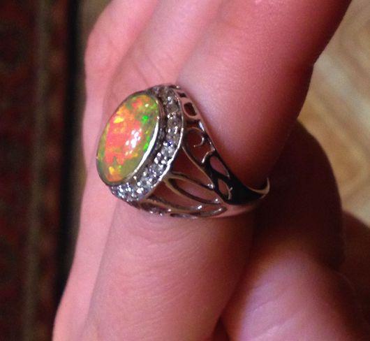 """Кольца ручной работы. Ярмарка Мастеров - ручная работа. Купить """" Апельсиновый десерт"""" кольцо с опалом Эфиопии. Handmade. Опал"""