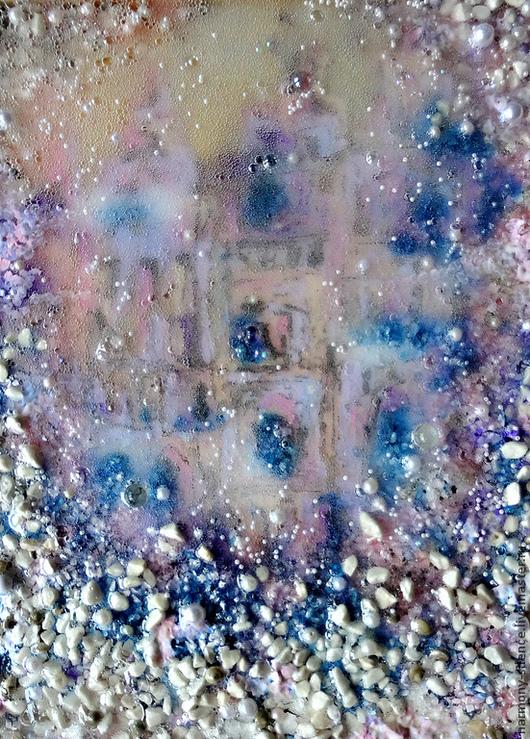 Картина, море, жемчуг, русалки, морской стиль, подводное царство, фэнтези, замок, дворец, сказка, фантазия, купить картину, картина в подарок, объемная картина, розовый, голубой, синий, Ирина Баст