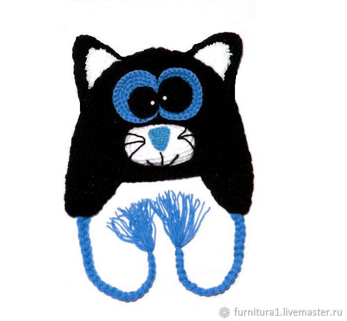 Одежда шапка для малышей кот теплая вязаная зимняя с ушками черная, Одежда, Москва,  Фото №1