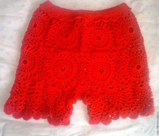 Одежда для девочек, ручной работы. Ярмарка Мастеров - ручная работа. Купить шорты детские. Handmade. Ярко-красный, абстрактный, акрил