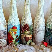 Бутылки ручной работы. Ярмарка Мастеров - ручная работа Новогодние бутылки. Декупаж.. Handmade.